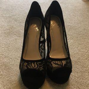 Colin Stuart open peep toe, lace high heels